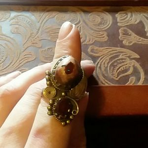 Jewelry - Mexican fire opal and garnet ring